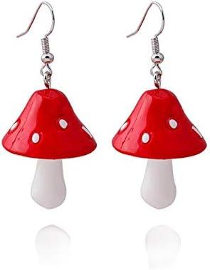 Handmade Colorful Mushroom Shape Dangle Earrings Sweet Fresh Chic Charm Mushroom Pendant Drop product image