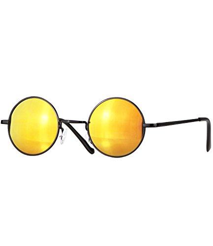 Caripe Lennon Retro Vintage Sonnenbrille Metall Damen Herren rund Nickelbrille (schwarz - Sun verspiegelt (815))