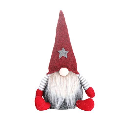 Amosfun Wichtel Figuren Weihnachtswichteln Plüsch Wichtel Weihnachten Plüschtier Weihnachtskobolden Winterwichtel Kinder Kuscheltier Geschenk - Rot sitzender Gremlin