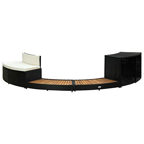 Tidyard Conjuntos Sofa Exterior Patio Tumbona en la Piscina del Patio del Patio Borde de Jacuzzi ratán sintético y Madera de Acacia Negro