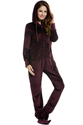 Unibelle Dames jumpsuit fleece onesie overall eendelig pyjama met footed trainingspak full-body pak huispak met capuchon en ritssluiting