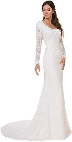 Meganbridal Vintage Damen Spitze Lange Ärmel Meerjungfrau Hochzeitskleider mit Zug für Braut Braut Ballkleid Weiß Elfenbein Gr. Large, weiß