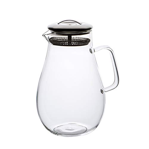 QAX Glass Water Pitcher,Juice Carafe with Stainless Steel Filter and Handle,for Hot Cold Water Ice Tea Wine Coffee Milk