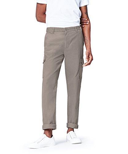 Marchio Amazon - find. Pantaloni Cargo in Cotone Uomo, Grigio (Grey), 36, Label: 36