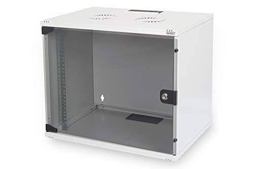 DIGITUS Netzwerk-Schrank 19 zoll 7 HE - unmontiert - Wandmontage - 400 mm Tiefe - Traglast 60 kg - Glastür - Grau