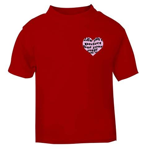 Flox Creative T-shirt pour bébé Inscription Life Isn't Perfect But Your Outfit Can Be - Rouge - 1-2 ans