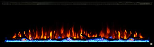 Touchstone 80038 - Sideline Elite Electric Fireplace - 72 Inch Wide - in Wall Recessed - 60 Color Combinations - 1500/750 Watt Heater (68-88°F Thermostat) - Black - Log, Crystals, and Driftwood