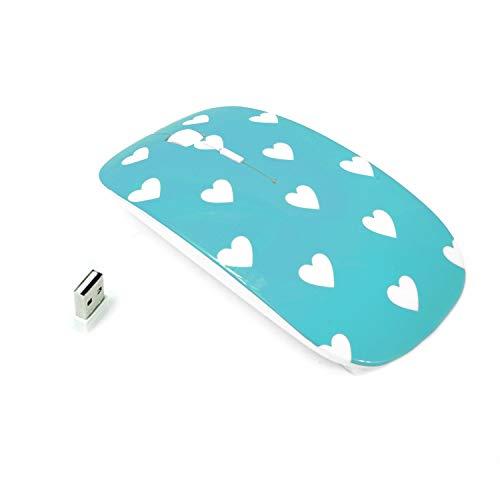 TOPCASE en forma de corazón diseño USB ratón óptico inalámbrico para Macbook (Pro, aire) y todos los portátiles + TopCase zigzag alfombrilla de ratón