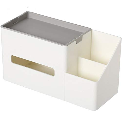 Multifunctionele PU Leather Pen Potlood Distant Controle Tissue Box Cover Holder Desk Storage Box Container for Familie en kantoorgebruik Home Kitchen supplies (Color : White)