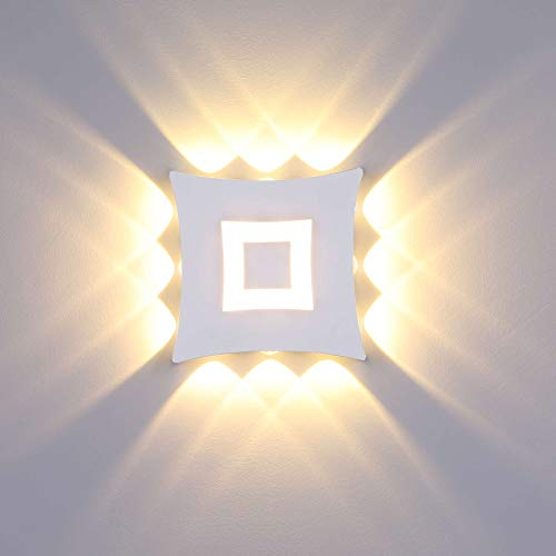 ENCOFT 18W Lámpara de Pared para Exterior Interior COB LED Moderno, Aplique de Pared en Aluminio IP65 Impermeable, Luz de Pared Blanco Cálido 3000K para Jardín Pasillo Loft, Blanco