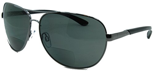 In Style Eyes C Moore Polarized Aviator Nearly Invisible Line Bifocal Sunglasses Pewter 2.50