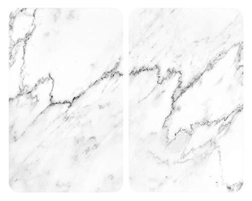 WENKO Placas cobertoras de vidrio universales Mármol, Cubiertas de cocina, juego de 2 unidades, para todos los tipos de cocinas, Vidrio endurecido, 30 x 1.8-5.5 x 52 cm, Multicolor