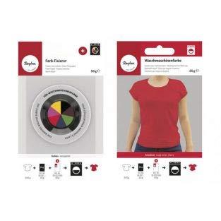 Fixator + textielverf voor wasmachine, kersenrood