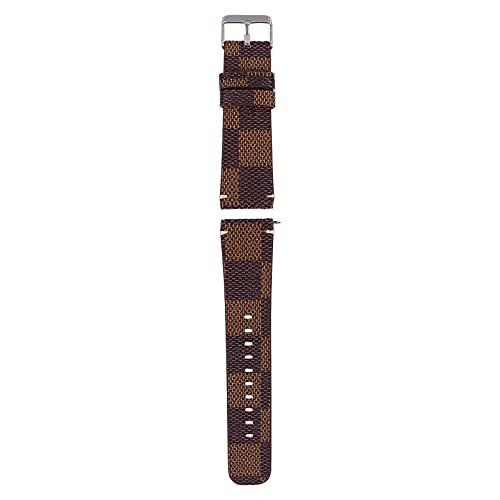 UKCOCO Compatible para Fitbit Inversa Pulseras para PU Cuero Plaid Pulsera Reemplazo Mujeres Hombres Reloj Pulsera Correa Marrón
