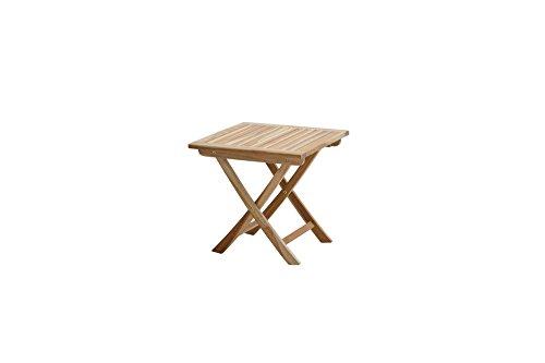 Ploß Beistelltisch klappbar Tennessee - Teakholz Premium Klapptisch mit Eco-Teak-Zertifikat - Terrassentisch quadratisch aus hochwertigem Naturholz in Braun - Garten Holztisch in 50 x 50cm