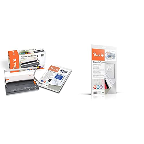 Peach PB300-15A Draht Bindemaschine | Personal Wire Binder Closer DIN-A4| bindet 60 Seiten |inkl. 34 Stk 8 mm Binderücken & PB100-15 Klarsicht Deckblätter transparent, 0.18 mm, A4, 25 Blatt, farblos