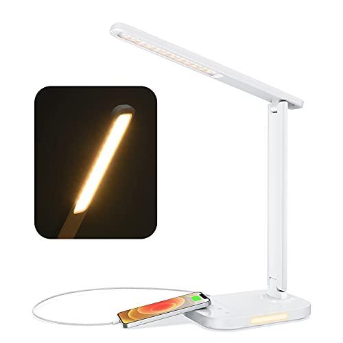 LITOM LED Desk Lamp, Eye-Caring Desk Light with Night Light, 10 Brightness, 5 Color Temperature, USB...