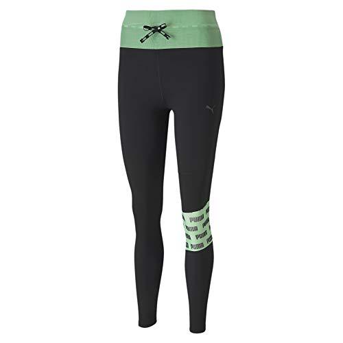 PUMA Damen Leggings Feel It Mesh 7/8 Tight, Black/Green Glimmer, S, 518934