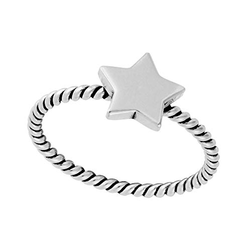 Silverly Women's .925 Sterling Silver Thin Band Star Twisted Rope Design Stackable Ring, T 1/2