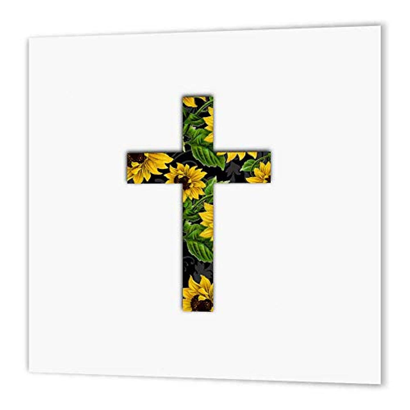 3dRose ht_185475_2 Sunflower Pattern Christian Cross Black and Yellow Floral Crucifix Iron on Heat Transfer, 6 by 6-Inch, for White Material