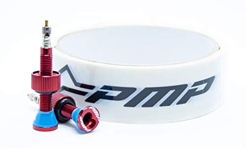 PMP Kit Conversione Tubeless MTB: Valvole Tubeless Ergal CNC Anodizzato Rosso + Nastro Tape da 27mm (per Cerchi da 23 a 26 Millimetri di Larghezza)