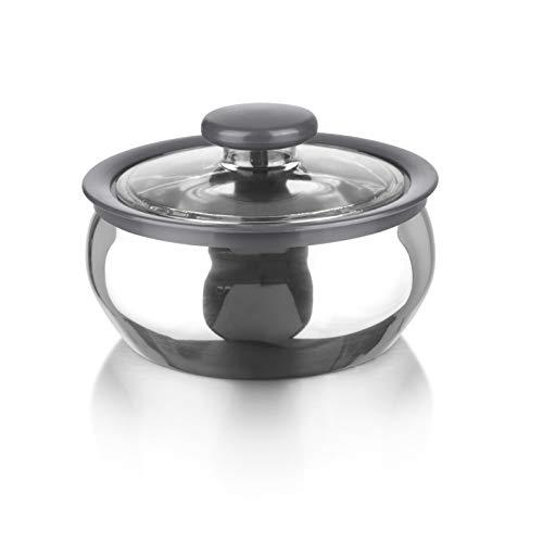 MAXXMEE Thermo-Schüssel | Hochwertiges Design aus Edelstahl für Speisen | Transparenter Drehverschluss-Deckel | Temperaturbeständig von -20 °C bis +100 °C [600 ml]