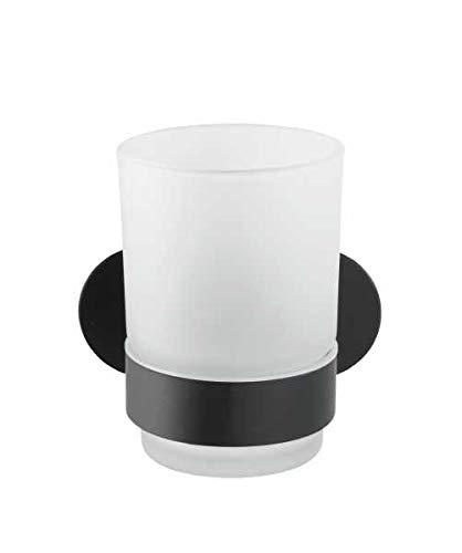 Wenko Turbo-Loc Uno Orea Black - Portacepillos de Dientes (fijación sin Agujeros, Vaso extraíble de Cristal Satinado, Soporte de Acero Inoxidable, 10 x 9,5 x 10 cm)