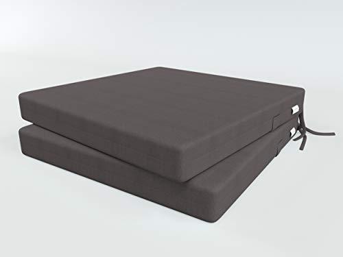 ALOHA Stuhlauflage Stuhlkissen Sitzkissen für Küche, Gartenstuhl oder Esszimmerstuhl Stuhl Kissen für Stühle in Haus und Garten (Dunkelgraphit / 40x40x4cm / 2 Stück)