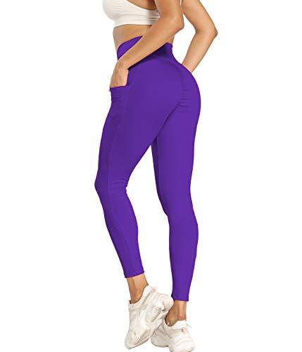 SLIMBELLE Mallas Push up Mujer Leggings Deportivos Pantalones Largos Cintura Alta Leggins con Bosillos para Yoga Fitness Running Pilates Elástico yTranspirable no Transparente Reducir Vientre