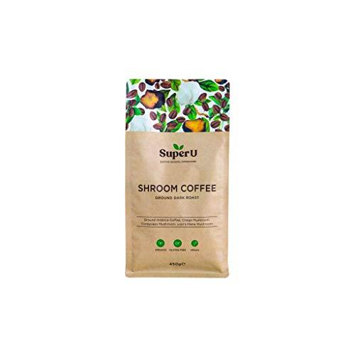 Super U Mushroom Ground Coffee (30 Servings, 450g) - Organic Arabica Coffee with Lion's Mane, Chaga & Cordyceps Mushroom, Dark Roast