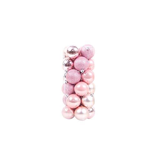24pcs Bolas De Navidad Adornos De Plástico Irrompibles Las Decoraciones del árbol con El Gancho De Bola Colgante Rosa 1,5 Pulgadas