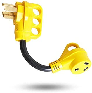 Epicord Heavy Duty RV Adapter 50 AMP male to 30 AMP female Dogbone Power Cord with Handles,12inch,10/3 STW