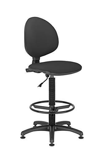 NOWY STYL Taburete Ergonómico y Giratorio con Respaldo, Diseño Sencillo de Color Negro Ideal para Oficina, Regulable en Altura, Aro Reposapiés y Base de 5 Radios con Topes (Negro)
