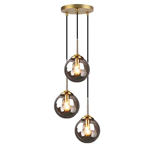 HJXDtech Industrielle Vintage Messing 3-Fläming Pendelleuchte Cluster, Grau Glaskugel Hängelampe Kronleuchter E27 Fassung Deckenleuchte für Küche Wohnzimmer