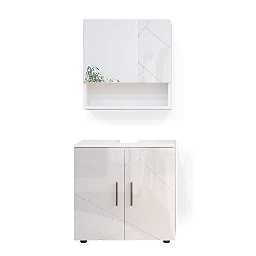 Vicco Badmöbel Set Badezimmermöbel Irma Spiegelschrank Unterschrank Badkommode (Weiß Hochglanz, Set 1)