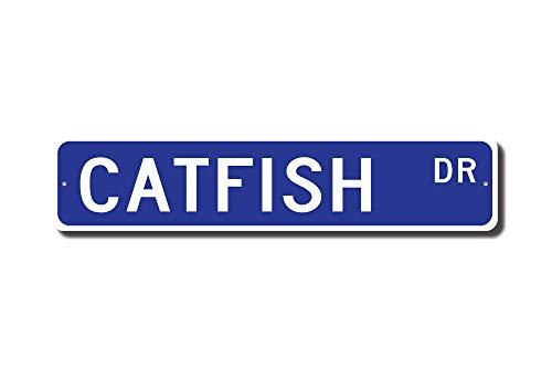 Poisson Chat Cadeau pour poisson-chat Sign pour poisson-chat Décor Poisson Chat Lover étang de pêche détenteur pêcheur Cadeau plaque de rue humoristique cadeaux pour garage cour Allée de clôture Décor