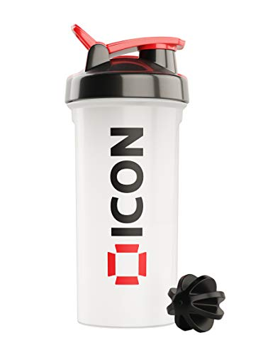 ICON Nutrition Classic Protein Shaker Bottle, 600ml Protein Shaker...