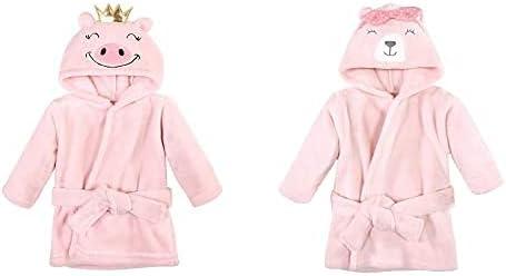 Hudson Baby Girl Plush Animal Face Bathrobe 2-Pack, Pig Bear
