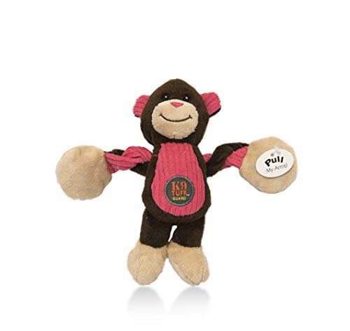 Charming Pet Baby Pulleez Monkey Squeaky Plush Dog Toy with Ropes for Pull-Through Tugging Action