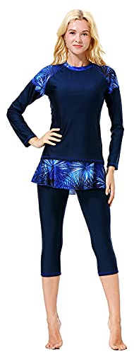 WOWDECOR Modest Swimsuits for Women Girls, Muslim Long Sleeve Shorts Swimwear with Swim Skirt Set (Navy Blue, XXL)