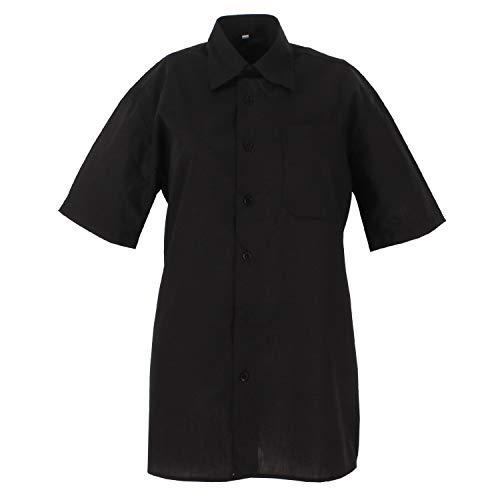 MISEMIYA - Camisa Uniforme Camarero Caballero Mangas Cortas MESERO DEPENDIENTE Barman COCTELERO PROMOTRORES Camisa Basica- Ref.834B - 1, Negro