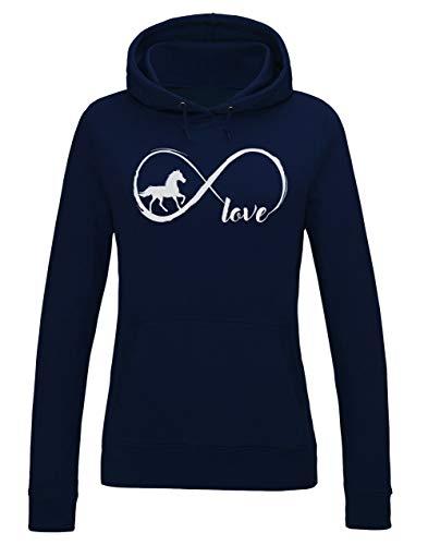 Green Turtle T-Shirts Love Chevaux à l'infinie Sweatshirt Capuche Femme Small Marine