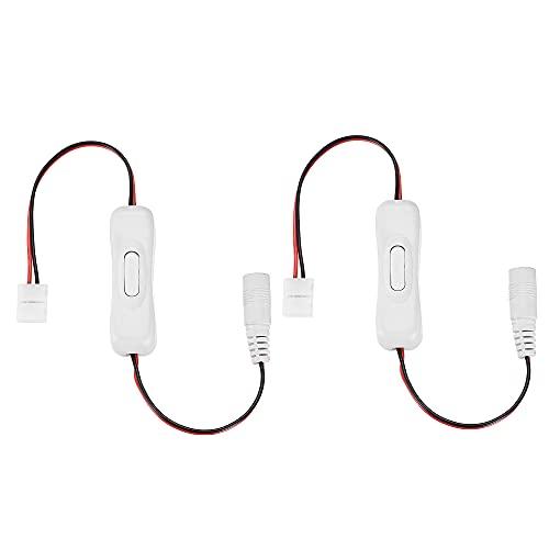 sourcing map LED Tira Luz Conector 2 Pasadores 8mm Sin Soldadura Conector a DC Hembra Cable con ON/OFF Interruptor Blanco 2uds