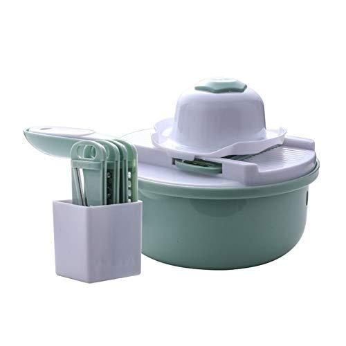 9 IN 1 Multifunctionele Gemakkelijke Bijl van het Voedsel Wortel Potato Rasp Manual Onion Cutter Gemakkelijke Bijl van het Voedsel Snijmachines Keuken Accessoires (Color : Green)