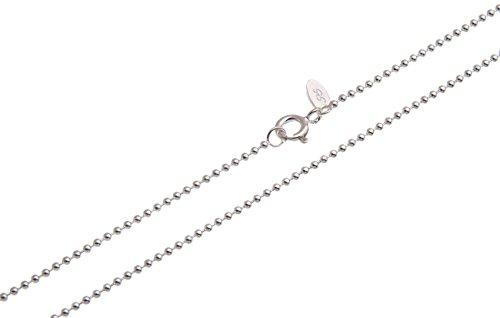 Collana con maglia a sfere, spessore 1,5mm–vero argento 925, lunghezza a scelta 38–100 cm e argento, cod. 1235