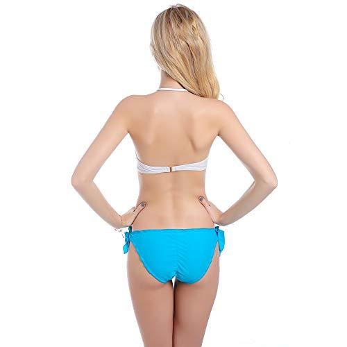 GUOZI Bikini Bikini Halter Zomer Witte Bar Tweedelige Schouder Badmode Vrouwen Badpak Drukknop Set Gewatteerde BH