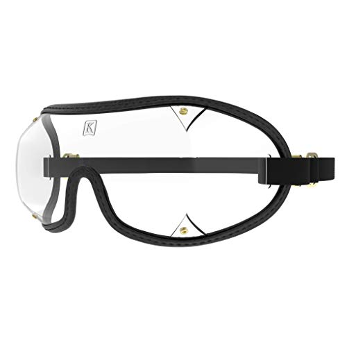 Kroop's Ventless Goggles - Protection for Your Eyes from Wind, Dust, Pollen, Snow, Rain, and Airborne Irritants. Great for Yard Work, Burning Man, or The Color Run. Made in The USA. Black/Clear