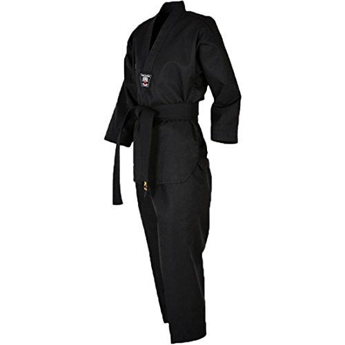 Mudoin Taekwondo 3 Uniform für Erwachsene mit V-Ausschnitt Kampfkunst Akido Hapkido für Den Menschen 180 (170-180cm) (5.57-5.90ft) Schwarz