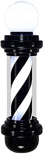 27 Pulgadas LED Negro Barber Pole Palace Style Red White Blue Rayas Lámpara De Poste De Iluminación Para Peluquería Giratoria, Tradicional Barber Pole LED Retro Red Impermeable Lámpara De Pared Para E