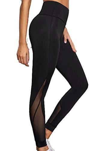 Zabmauek Pantalones de yoga para mujer Leggings de cuerpo entero Malla de cintura alta Pantalones deportivos deportivos de retales transparentes Negro L